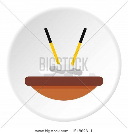 Bowl of rice with chopsticks icon. Flat illustration of bowl of rice with chopsticks vector icon for web