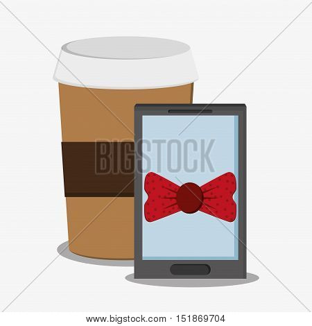 Smartphone bowtie and coffee icon. Hipster style vintage retro fashion and culture theme. Colorful design. Vector illustration