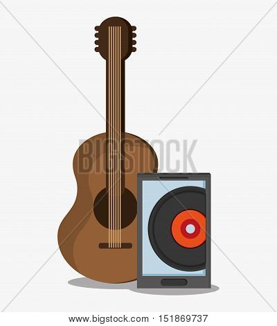 Smartphone vinyl and guitar icon. Hipster style vintage retro fashion and culture theme. Colorful design. Vector illustration