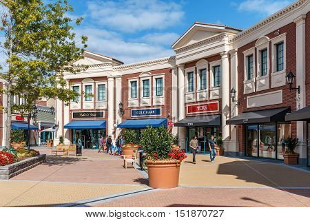 RICHMOND BC CANADA - September10 2016: Unidentified people in the new McArthurGlen Designer Outlet near the Vancouver Airport on September10 2016. McArthurGlen Designer Outlet was designed as a luxury shopping destination and offers 376000 square feet of