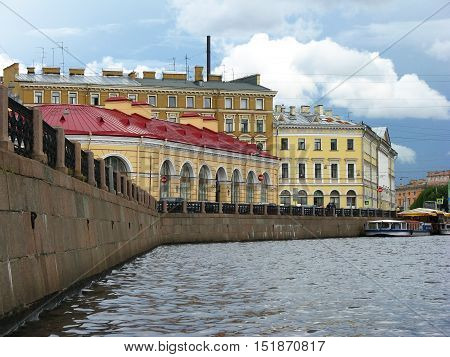The Moyka river embankment. Historic buildings of Saint Petersburg. Russia.