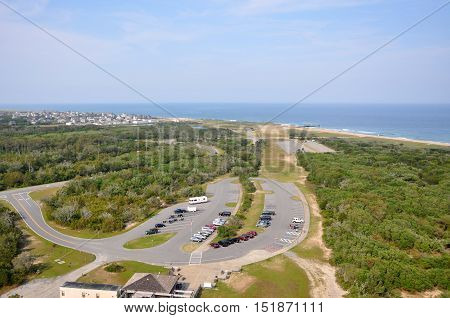 Town of Buxton in Cape Hatteras, from Cape Hatteras Lighthouse in Cape Hatteras National Seashore, on Hatteras Island, North Carolina, USA.