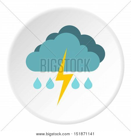 Rain with thunderstorm icon. Flat illustration of rain with thunderstorm vector icon for web