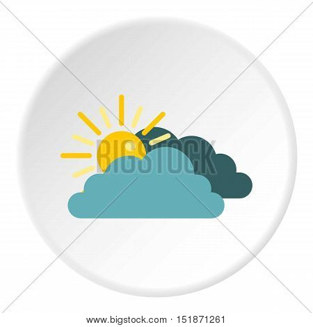 Sun behind clouds icon. Flat illustration of sun behind clouds vector icon for web