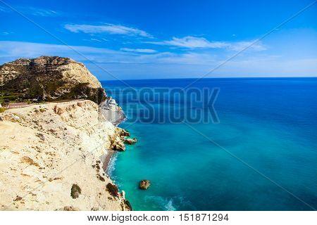 Cyprus beautiful coastline, Mediterranean sea of turquoise color