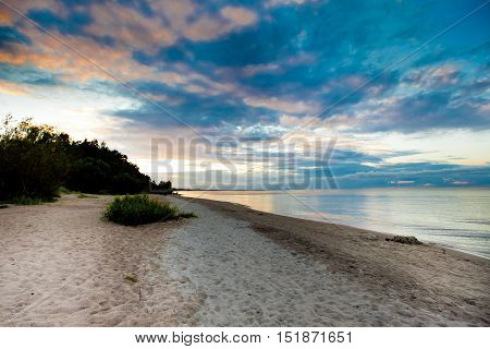 Latvian baltic coast, seascape on the sunset