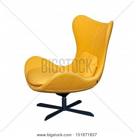 Spinning yellow office chair isolated on white background
