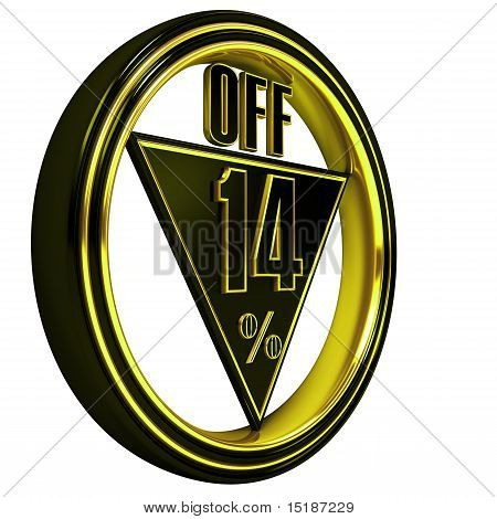 Gold metal fourteen Percent off on white