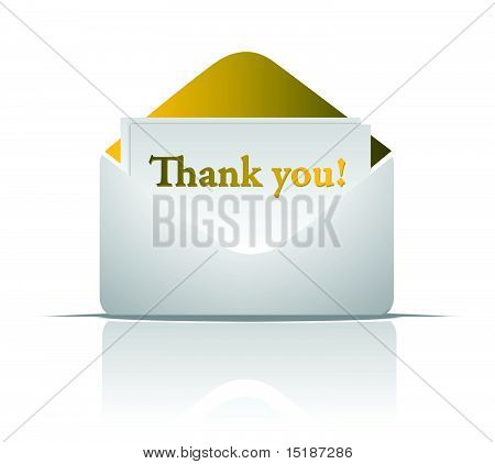 thank you golden envelope design isolated over a white background