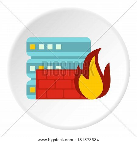 Fire protection in file store icon. Flat illustration of fire protection in file store vector icon for web