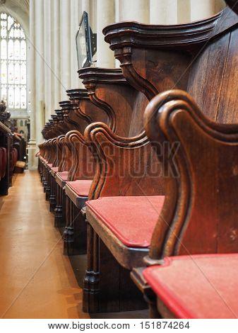 Wooden Seats In Church In Bath