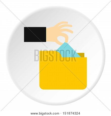 Hand stealing e-mail icon. Flat illustration of hand stealing e-mail vector icon for web