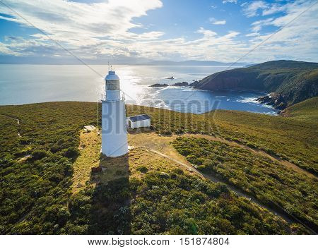 Aerial View Of Bruny Island Lighthouse At Sunset, Tasmania.
