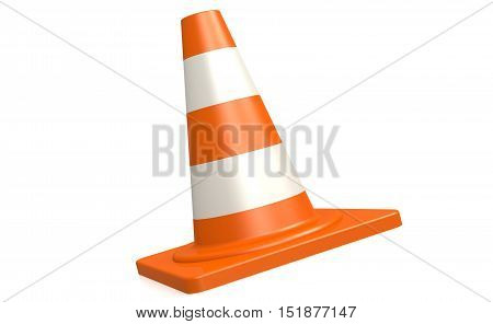 Traffic Cone In White And Isolated Background