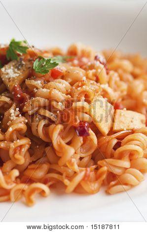 Close Up Shot Of Tomato Pasta