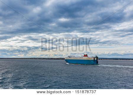 Large Vehicle Carrier Ship Crossing Port Phillip, Melbourne.