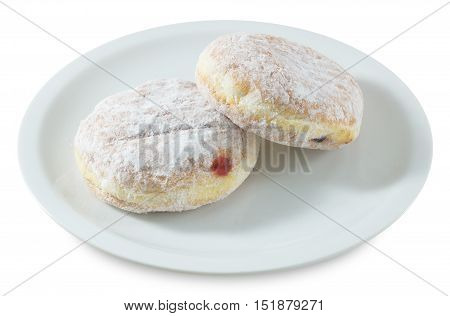 Food and Bakery Fresh Sweet Donuts Strawberry Jam and Blueberry Jam with Icing Toppings Isolated on White Background.