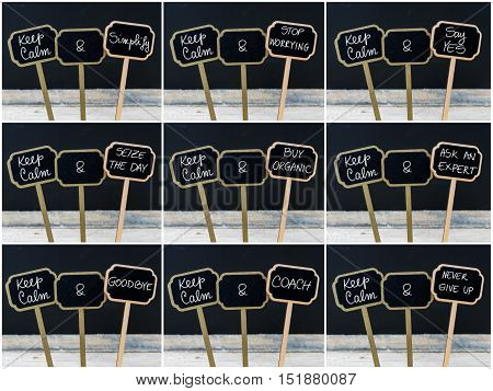 Photo Collage Of Keep Calm Messages Written With Chalk On Mini Blackboard Labels