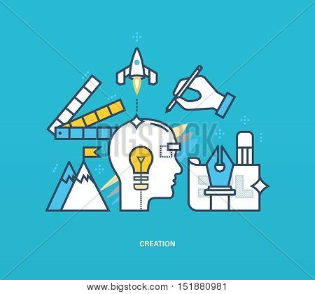 Concept of illustration - creativity and creation, the process of thinking, inspiration and tools to implement ideas. Vector design for website, banner, printed materials and mobile app.