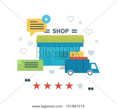 Concept illustration - online shopping, reviews and ratings work of store, delivery and products. Editable Stroke. Vector design for website, banner, printed materials and mobile app.