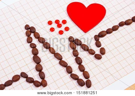 Cardiogram Line Of Coffee Grains, Red Heart And Supplement Pills, Medicine And Healthcare Concept