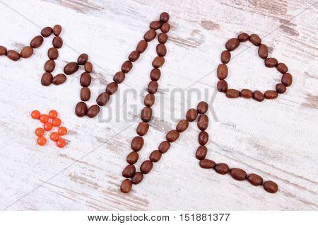 Cardiogram Line Of Coffee Grains And Supplement Pills, Medicine And Healthcare Concept