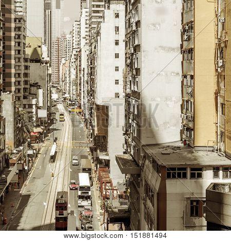 China Hong Kong skyscrapers and street cars.