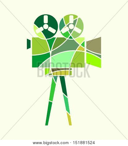 Retro cinema con. Keyhole design. Abstract multicolor illustration of reel projector. Mosaic style silhouette