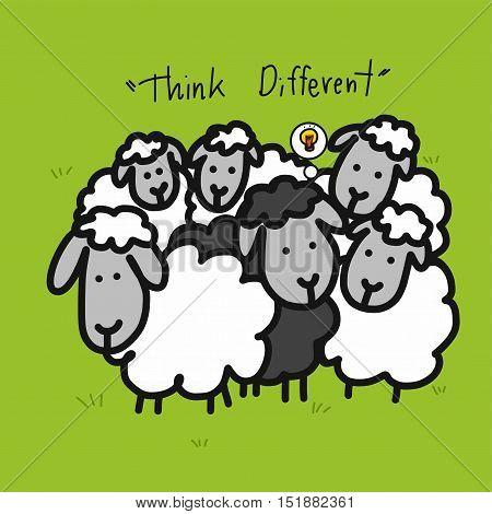 Black sheep in white sheep group cartoon illustration