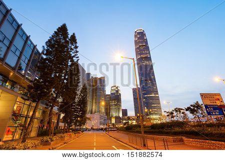 Hong Kong night the city's modern high-rise.