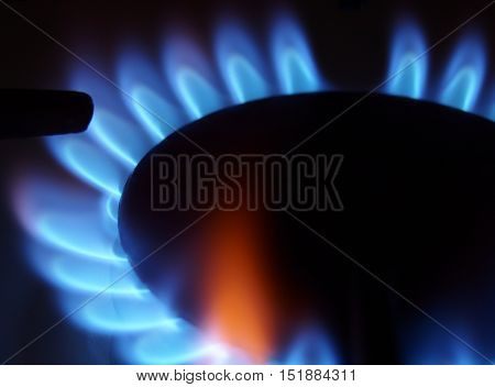 Closeup of burning gas with blue flame on home stove