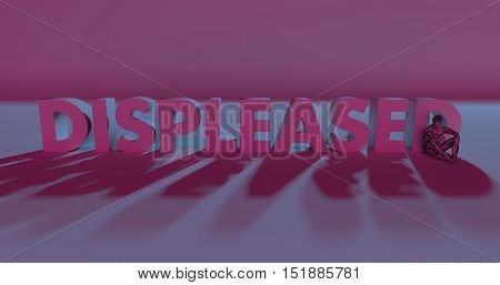 Displeased - 3D Render Lettering Near Low Poly Man Illustration