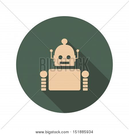 Cute vintage robot. Robotics industry relative image. Web Icon in Flat Design with Long Shadows