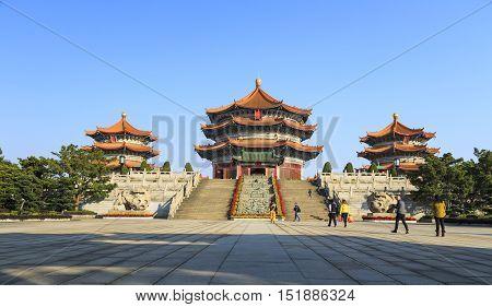 GUANGZHOUCHINA - JANUARY 1:Laozi statue in yuanxuan taoist temple JAN 1 2015 Guangzhou China. Chinese pagoda in yuanxuan taoist temple guangzhou