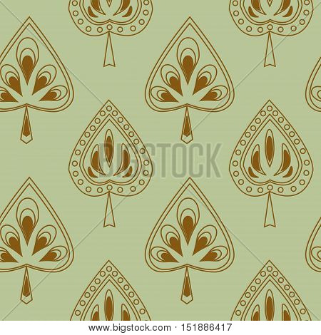 Symmetrical seamless pattern with a stylized leaves