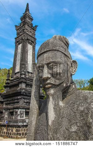 Statue and tower at Khai DInh Tomb Hue - Vietnam. Khai Ding was an Emperor of Vietnam from 1916 til his death is 1925 and built an empressive complex for his burial.