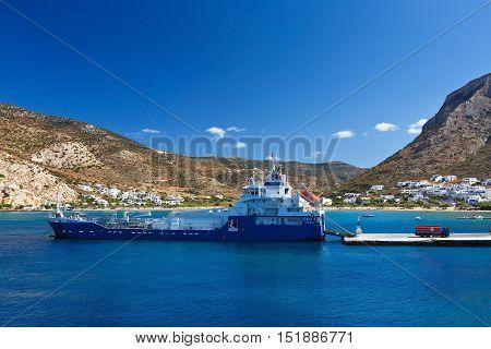 KAMARES, GREECE - SEPTEMBER 25, 2016: Port of Kamares in Sifnos island, Greece on September 25, 2016.