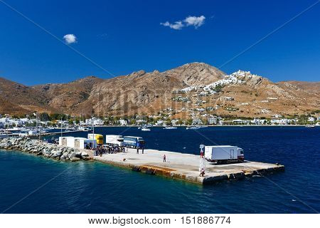 LIVADI, GREECE - SEPTEMBER 25, 2016: View of Serifos from a ferry arriving to the port of the island on September 25, 2016.