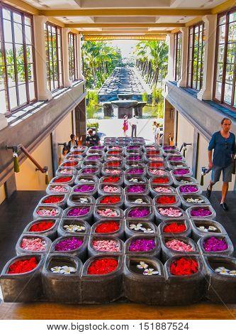 Nusa Dua Bali Indonesia - April 14 2014: View of the The main entrance at St. Regis Bali Resort