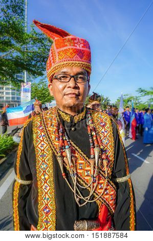 Kota Kinabalu,Sabah-Aug 31,2016:A Dusun Lotud ethnic of Borneo with its costume during the Malaysia National Day at Kota Kinabalu,Sabah,Borneo on 31st Aug 2016.