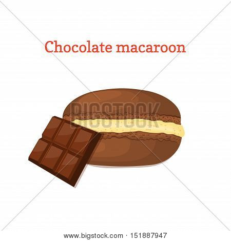 Vector illustration of a delicious French dessert. Macaroon chocolate with sweet cream. Macaron delicious chocolate sweetness isolated on white background to design a menu, packaging, confectionery decoration