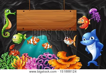 Sea animals swimming around wooden sign illustration