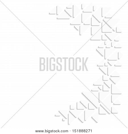 Abstract mosaic style background. Partial frame made of white triangle and place for text. Vector illustration.