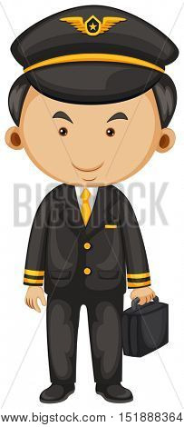 Pilot in black suit and briefcase illustration