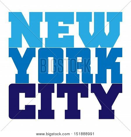 T shirt typography graphics New York. Athletic style NYC. Fashion american stylish print for sports wear. Blue on white emblem. Template for apparel card poster. Symbol big city. Vector illustration