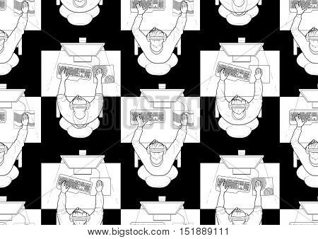 Young man sitting at the table and playing computer. Top view. Cyber sport concept. Vector seamless pattern. Coloring book page design for adults and kids.