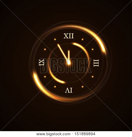 Happy New Year background. Magic gold clock countdown five minute time. Golden decoration for card greeting. Christmas night design shiny sparkle. Symbol of wish celebration Vector illustration