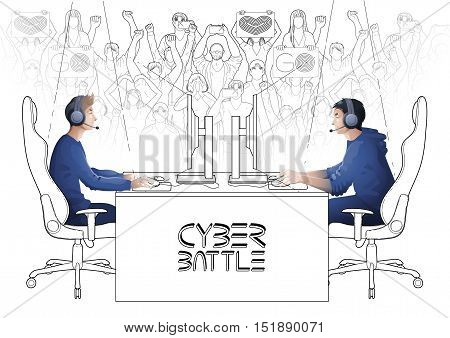 Two computer players sitting at the table opposite each other with a crowd of cheering fans on the background. Side view. Coloring book page design for adults and kids.