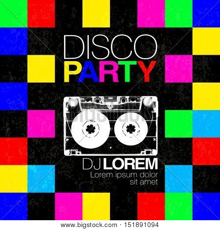 Disco poster or flyer design vintage vector template on colorful squary background