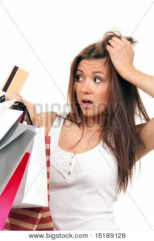 Girl Holding Shopping Bags And Credit Card In Her Hand